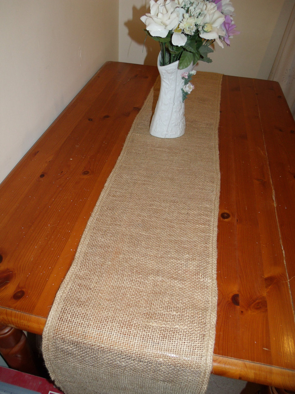 Rustic burlap wedding table runner with flowers free for Table runners 52 inches