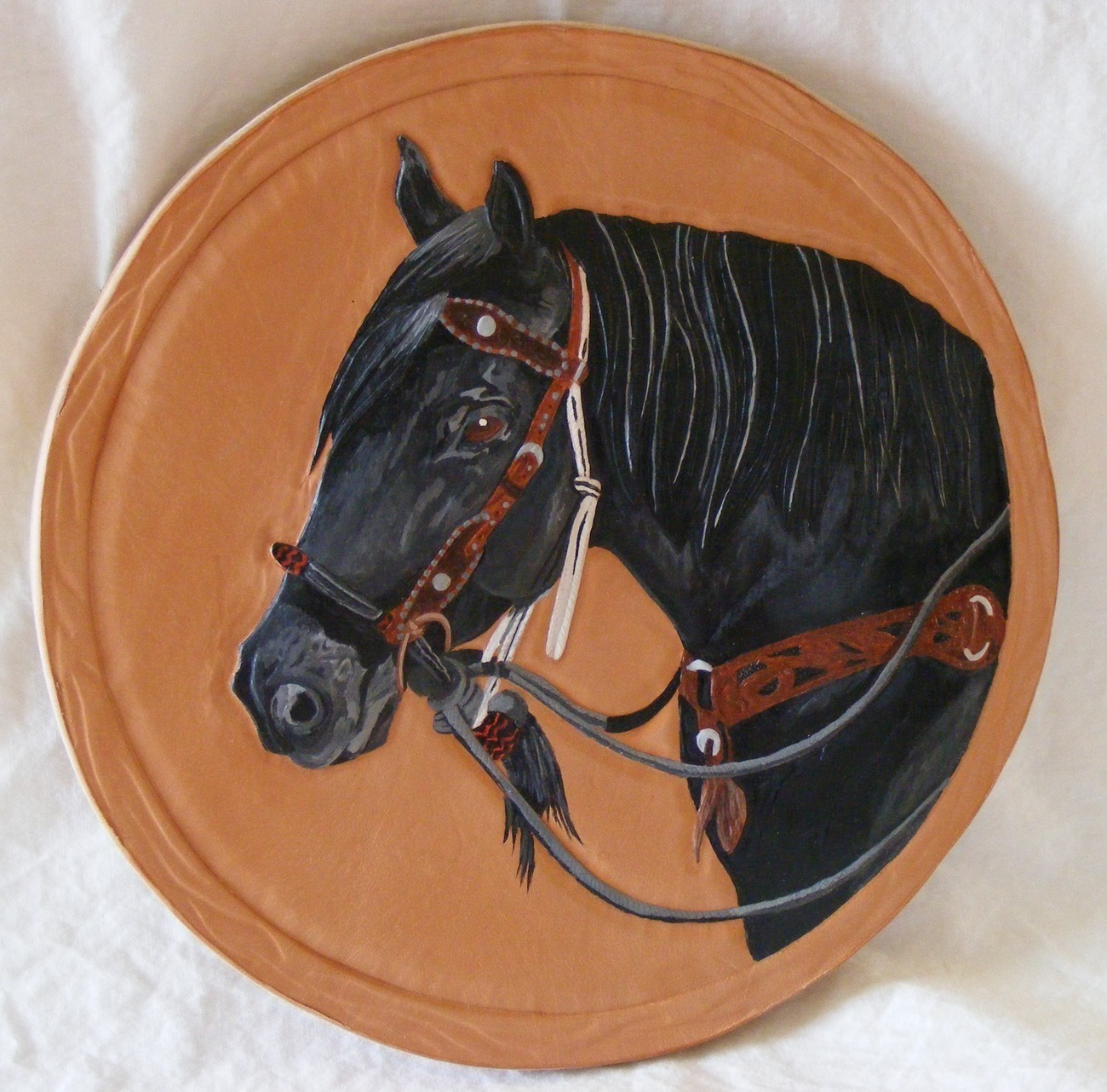Custom equine portrait on leather, carved and hand painted