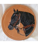 Custom equine portrait on leather, carved and hand painted - $129.99
