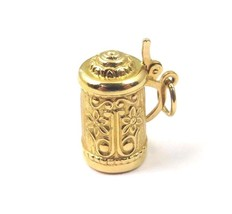 18k Yellow Gold Vintage Beer Coffee Beverage Pitcher With Cover Charm Pe... - $231.88