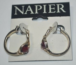 NEW Napier Gold Tone Hoop Earrings w/ Faceted Red Crystal Stone - $14.54