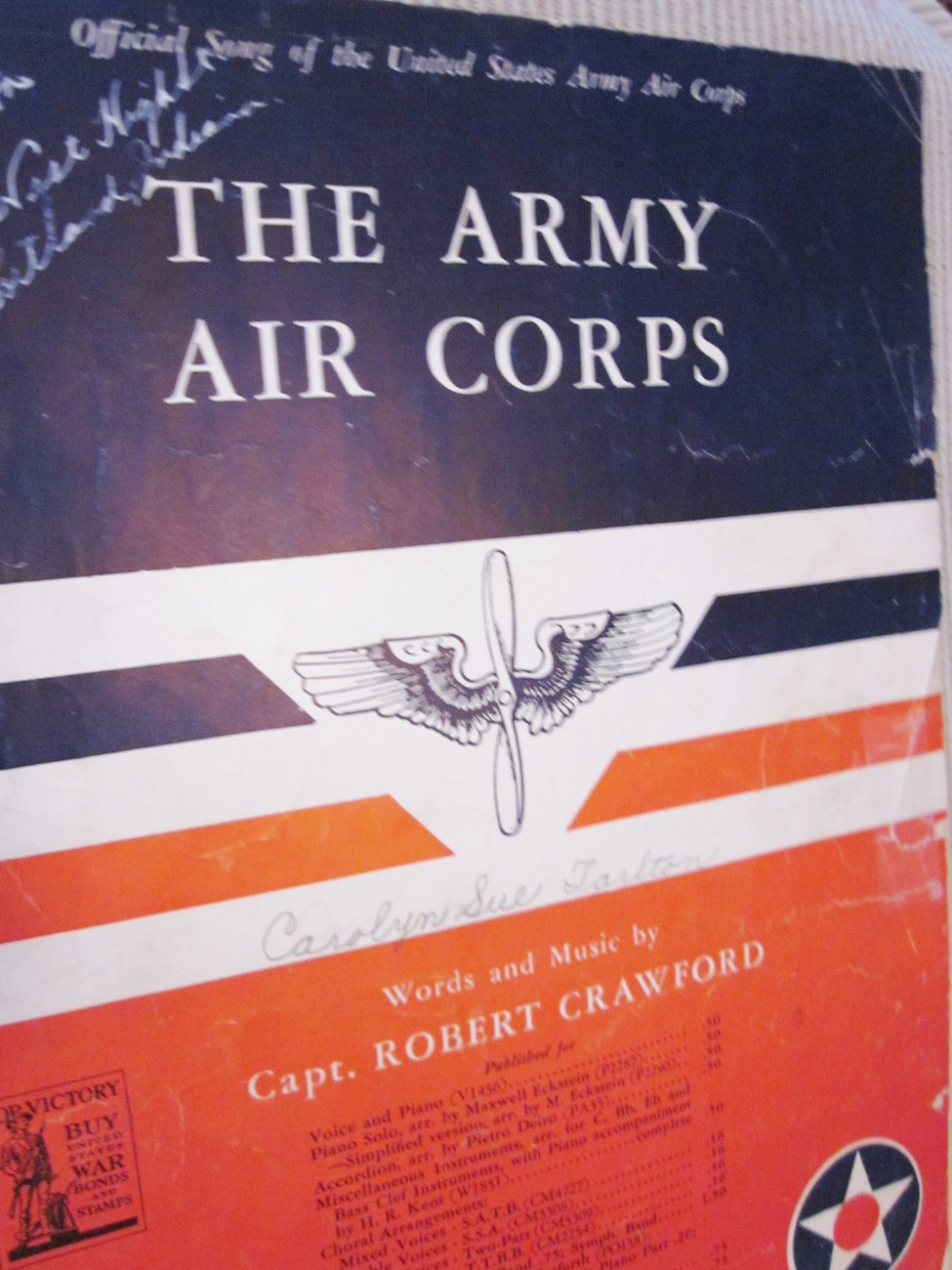 Vintage Sheet Music The Army Air Corps 1939 by Capt. Robert Crawford