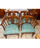 Set of 4 Solid Oak Game Chairs / Dining Chairs by Henredon  (RP) - $899.00