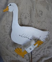 Whirligig White Yard Duck, Handcrafted,handpainted,wind mobile,motion,wh... - $58.00