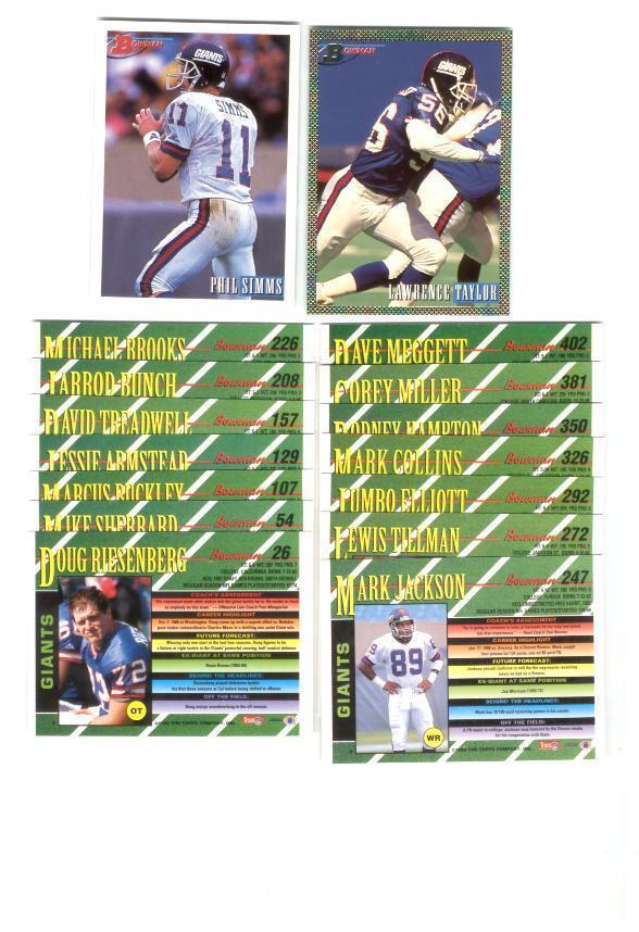 1993 Bowman New York Giants Football Team Set