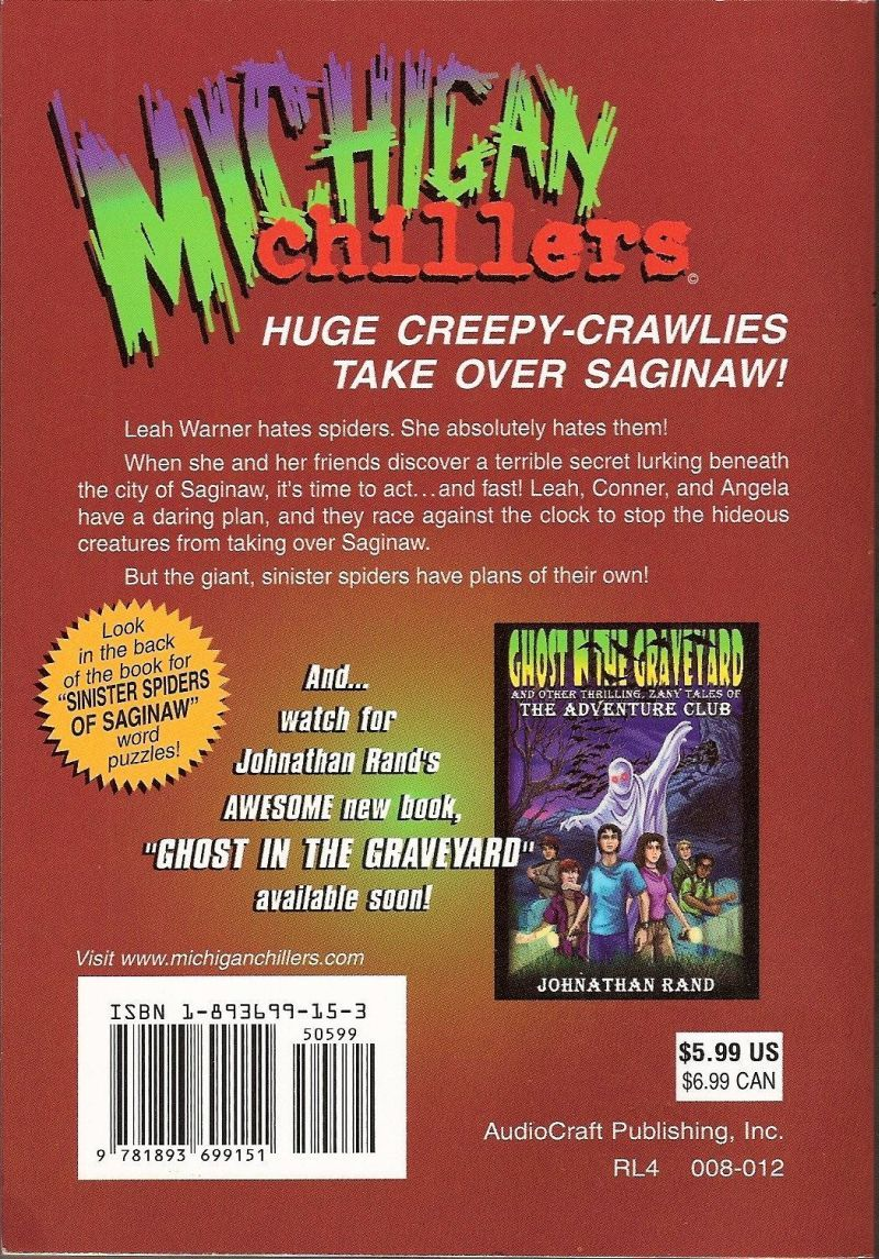 Sinister Spiders of Saginaw Michigan Chillers Series by Rand author signed