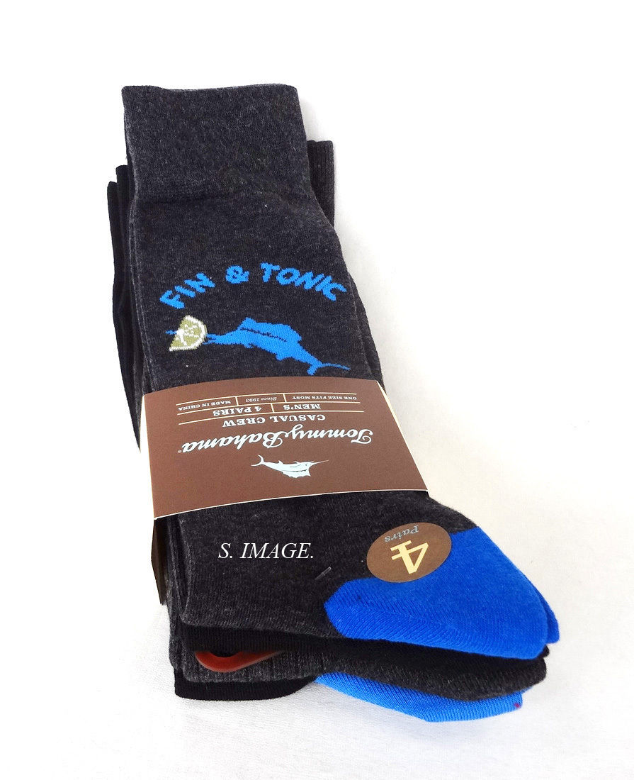 TOMMY BAHAMA Men's CASUAL CREW Socks 4 Pairs Blk/Charcol OSFM FIN & TONIC - New!