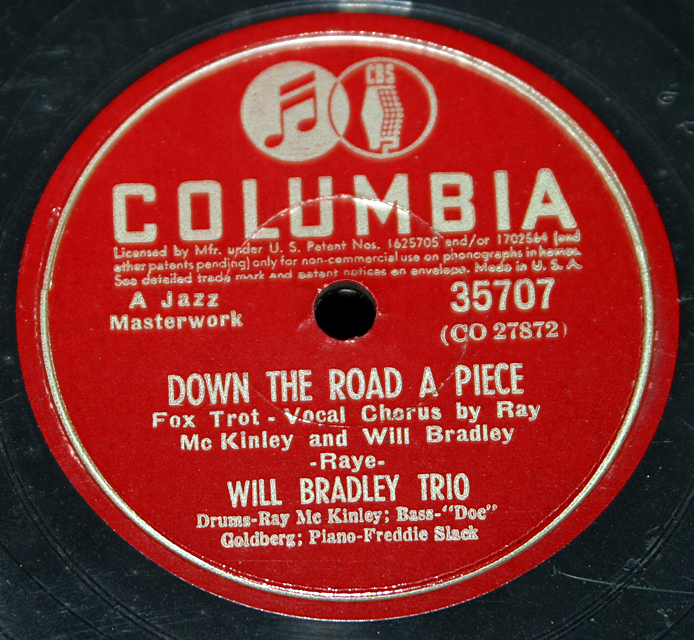 "Will Bradley Trio ""Down The Road A Piece & Celery Stalks At Midnight""  78"