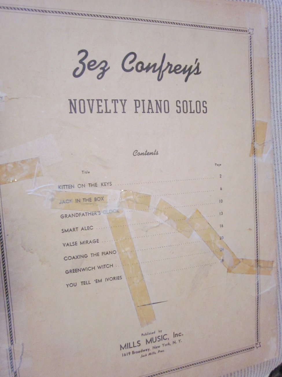 Vintage Sheet Music Novelty Piano Solos by Zez Confrey 1921