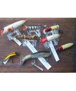 Wooden Fishing lures Antique Lot of 8 ---