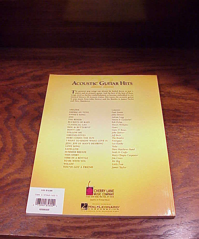 2001  22 Acoustic Guitar Hits Song Book, songbook