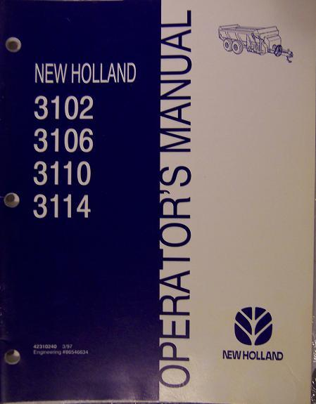 New Holland 3102, 3106, 3110, 3114 Manure Spreaders Operator's Manual