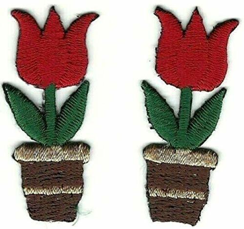 "1.5"" Red Tulip Flower Pot Embroidery Patch Lot of 2 - $11.88"