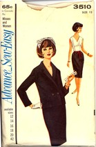 1960s Size 12 Bust 32 Sew Easy Sheath Dress Jacket Advance 3510 Pattern - $8.99