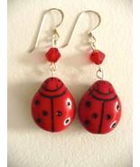 Karina's Valentine Ladybug Bead Dangle Earrings - $9.95