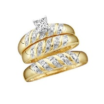 Princess Cut Diamond His & Her 14k Yellow Gold Plated 925 Silver Trio Ring Set - $128.13