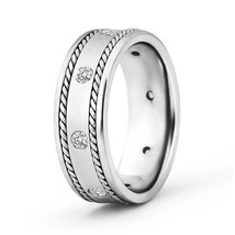 Rope Edged Mens Diamond Wedding Band in 14k White Gold Ring Size 4-14 - $1,092.80+