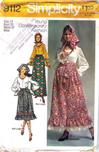 1970 Skirt, Blouse, Scarf & Sash Pattern 9112-s Size 14 - Complete - $10.99