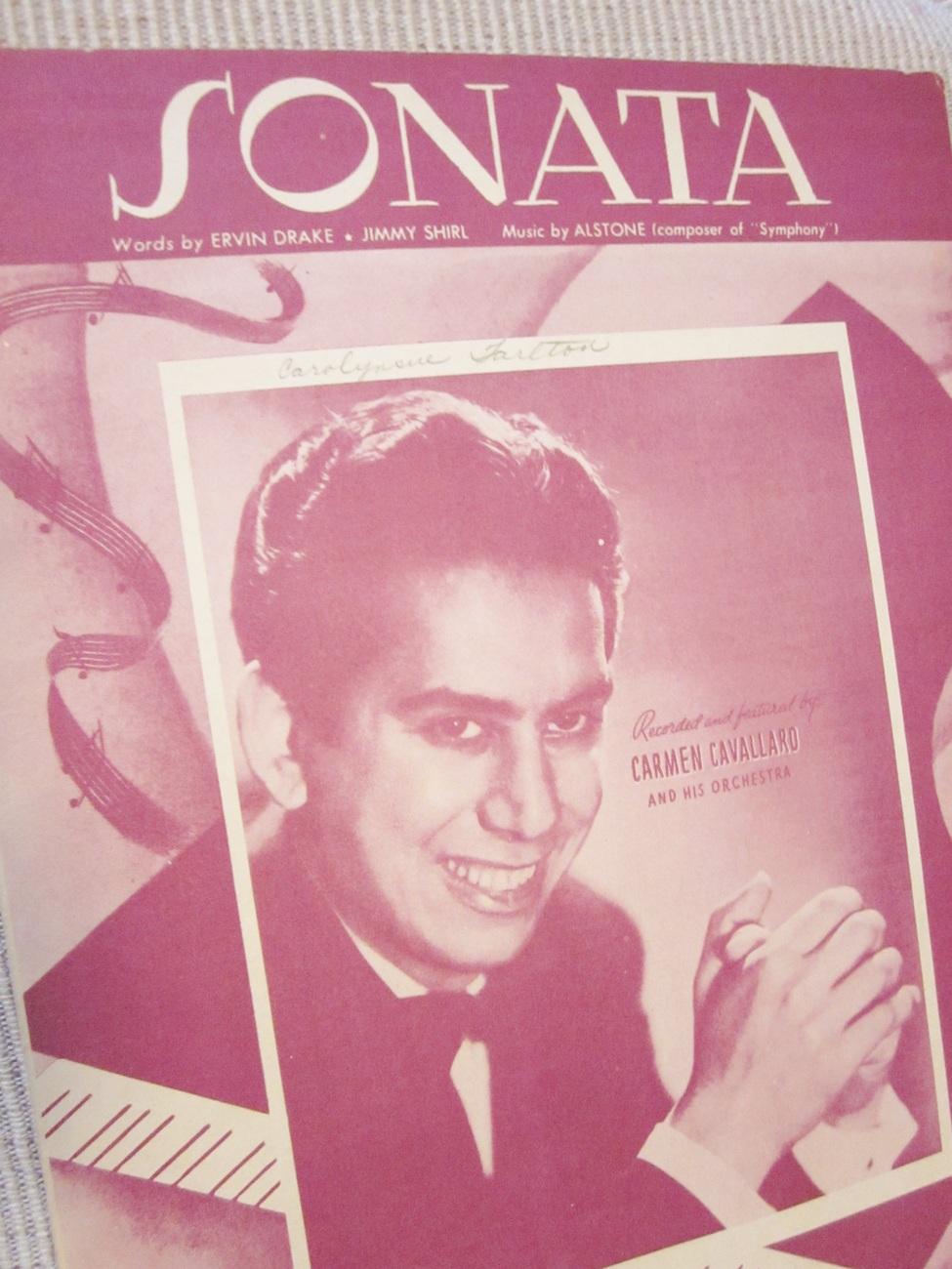 Vintage Sheet Music Sonata by Drake, Shirl, Alstone 1946 - Carmen Cavallaro