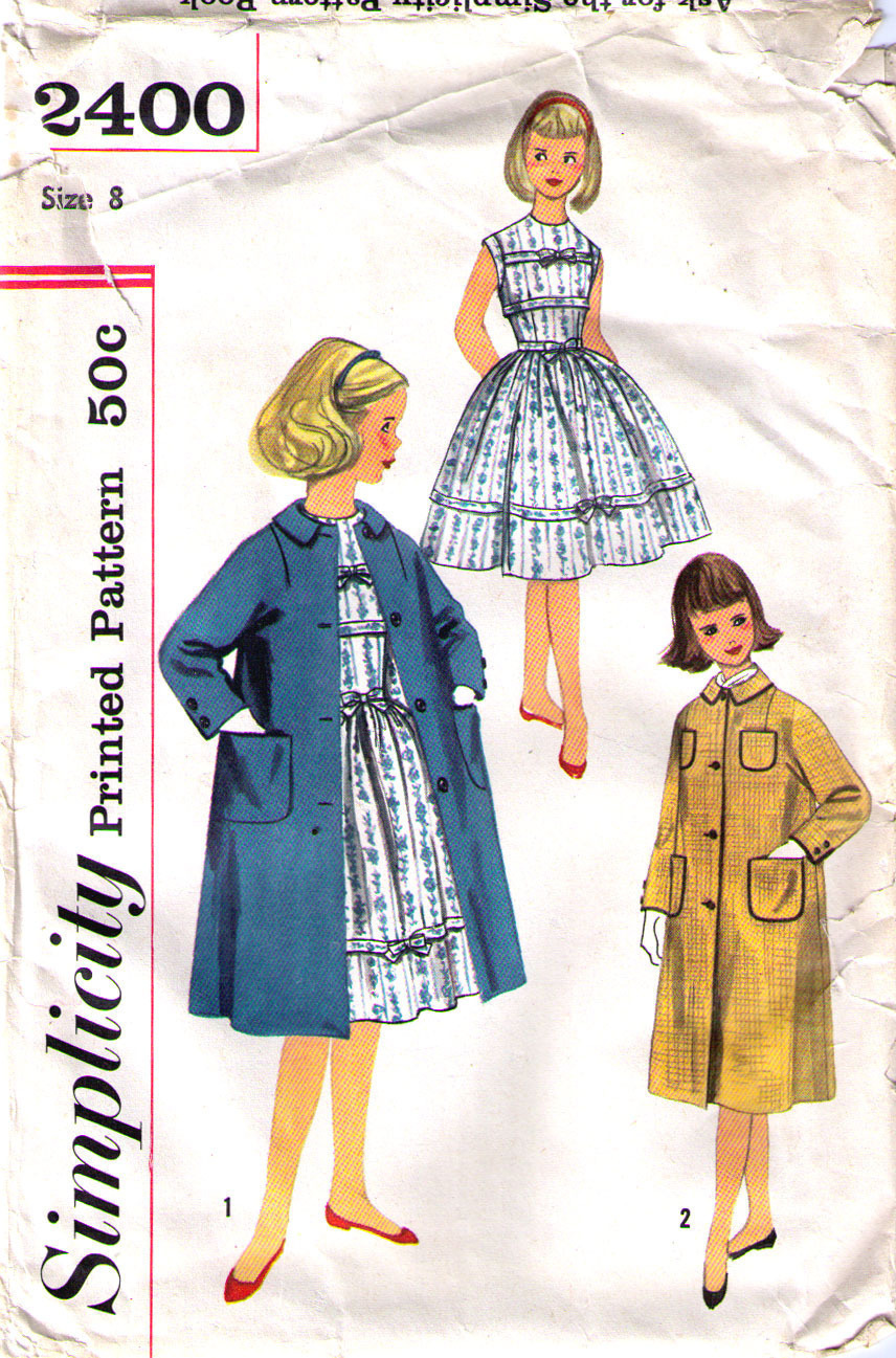 Primary image for 1960's Dress & Coat Pattern 2400-s Girl Size 8 - Complete