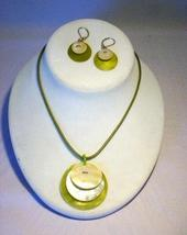 Cookie Lee Genuine Shell Round Disc Necklace & Earring Set - NOS, Gorgeous Set! - $17.00