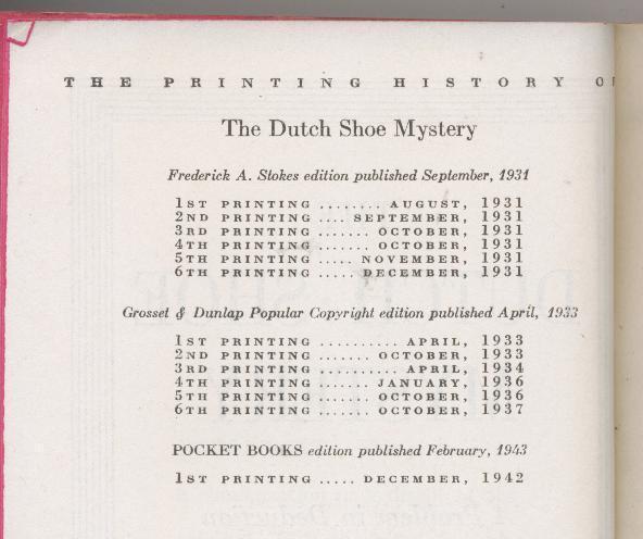 Queen - DUTCH SHOE MYSTERY - 1942 - 1st pb pr., 2nd EQ book