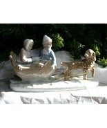 """...IN A ONE-DOG OPEN SLEIGH"" Ceramic Christmas Figurine - Gorgeous Item! - $8.99"