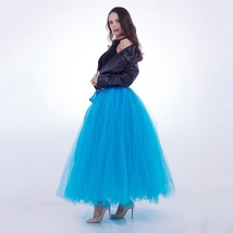 Adult Tutu Maxi Skirt Drawstring High Waist Party Tutu Tulle Skirt Petticoats  image 4