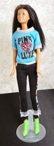 """Mattel 2002 Barbie Doll 11 1/2""""  Brown Hair Brown Eyes Knees Bend Earrings - $8.59"""