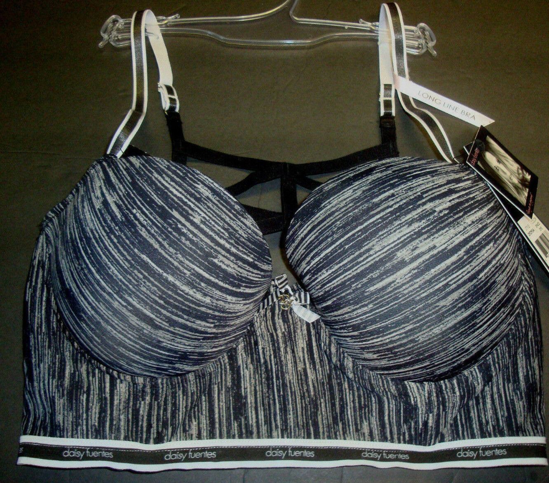 New $30 Daisy Fuentes Women's Sporty Long Line Bra Strappy Back Space Dye 36C