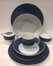 "Studio Nova ""BLUE DENIM"" Fine Porcelain 25 Piece China Set Y0725 ( Oven ... - $222.75"