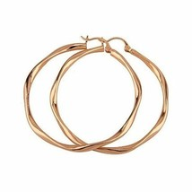 18K Rose Gold GP Liquid Look Ladies Round 49mm Hoop Earrings E94 - $10.33