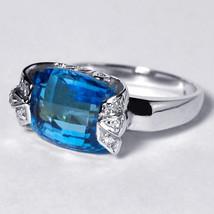 Natural Blue Topaz Diamond Signet Statement Ring Womens 14K White Gold 9... - $449.00