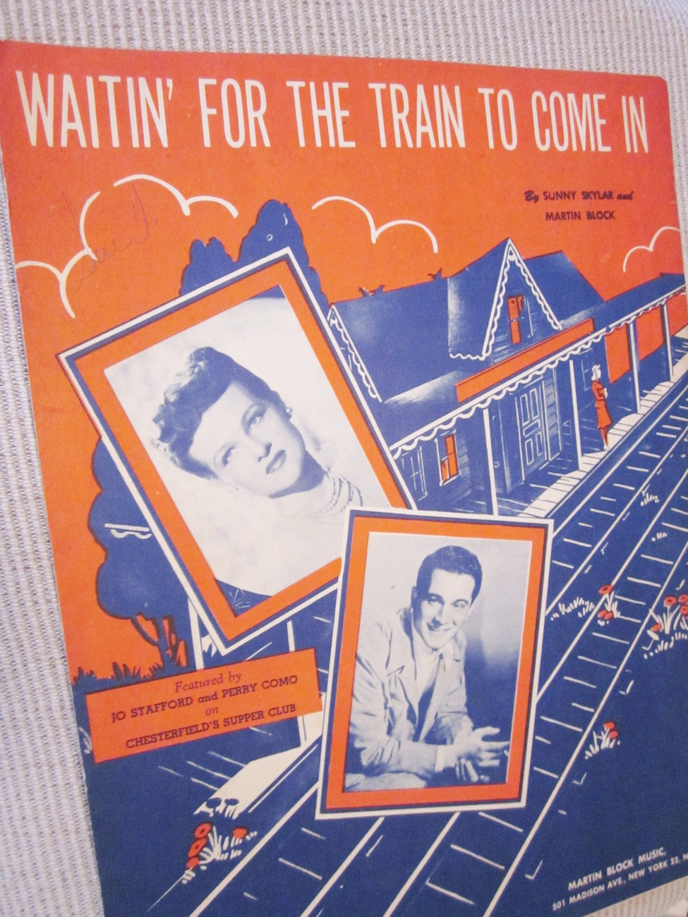 Vintage Sheet Music Waitin' For The Train To Come In - Stafford & Como 1945