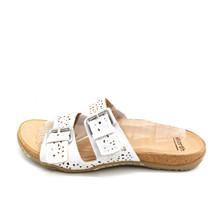 Earth Womens Sand Antigua Slide Sandals White Double Buckle Leather 10M New - $39.59
