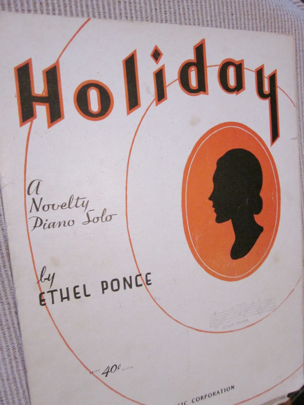 Vintage Sheet Music Holiday by Ethel Ponce - Novelty Piano Solo 1934