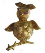 Whimsical 18K Gold & Ruby Bird Pin Brooch Signed - $875.00