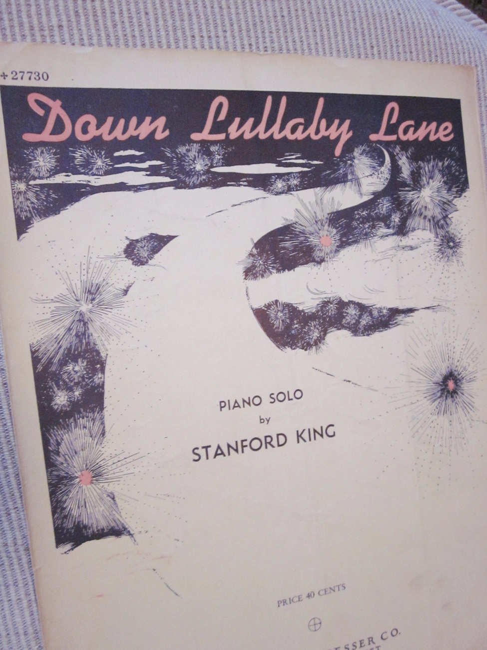 Vintage Sheet Music Down Lullaby Lane Piano Solo by Stanford King 1946