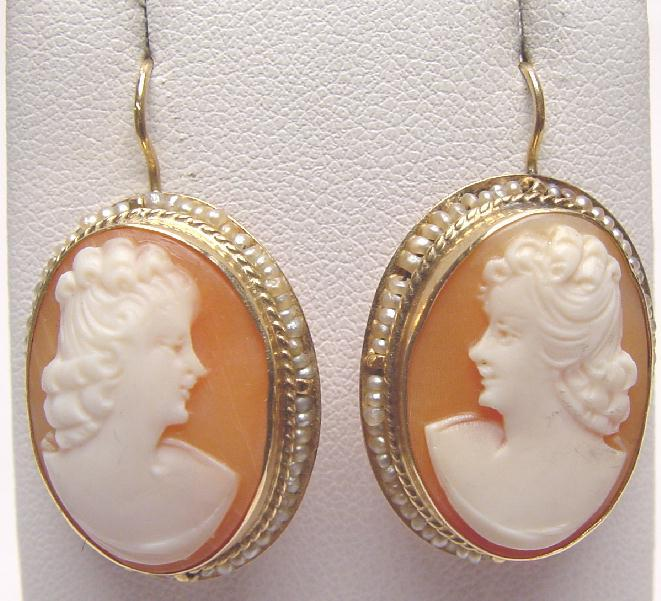 VINTAGE GOLD & SHELL CAMEO EARRINGS