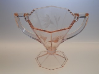 Gorgeous Art Deco Pink Depression Glass Candy Nut or Sugar Bowl, Etched & Footed