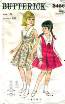 Vintage DRESS or JUMPER & BLOUSE Pattern 3456-b Girl Size 10 - Complete - $9.99