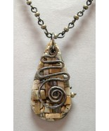 Twist Beige Mosaic Polymer Pendant Reversible Handcrafted Gray Bead Neck... - $98.00