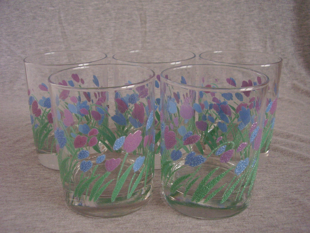 Modern Pink Blue Tulip Flowers Drinking Glasses Tumblers B