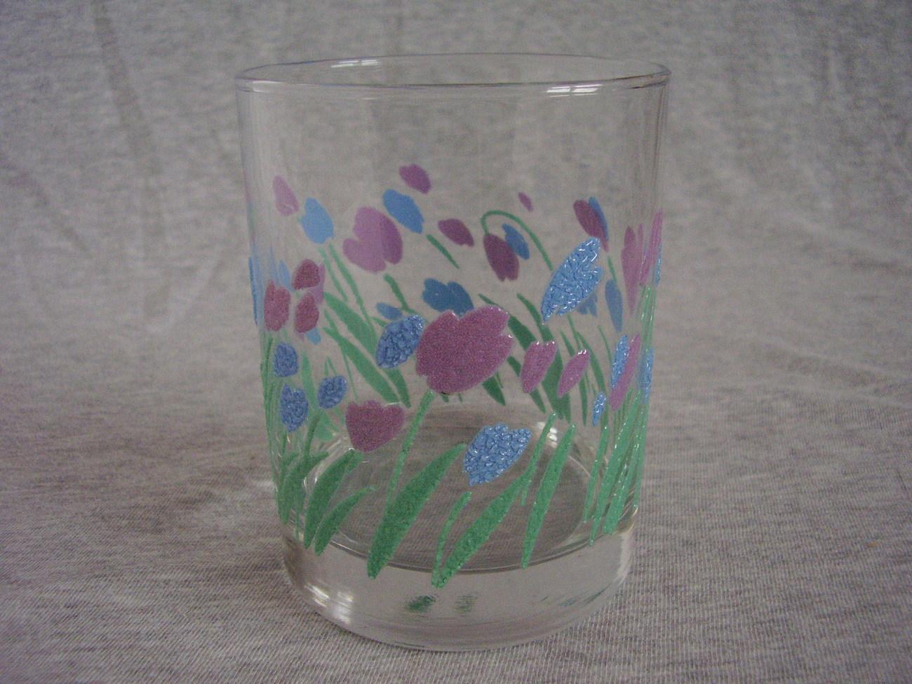 Modern Pink Blue Tulip Flowers Drinking Glasses Tumblers B