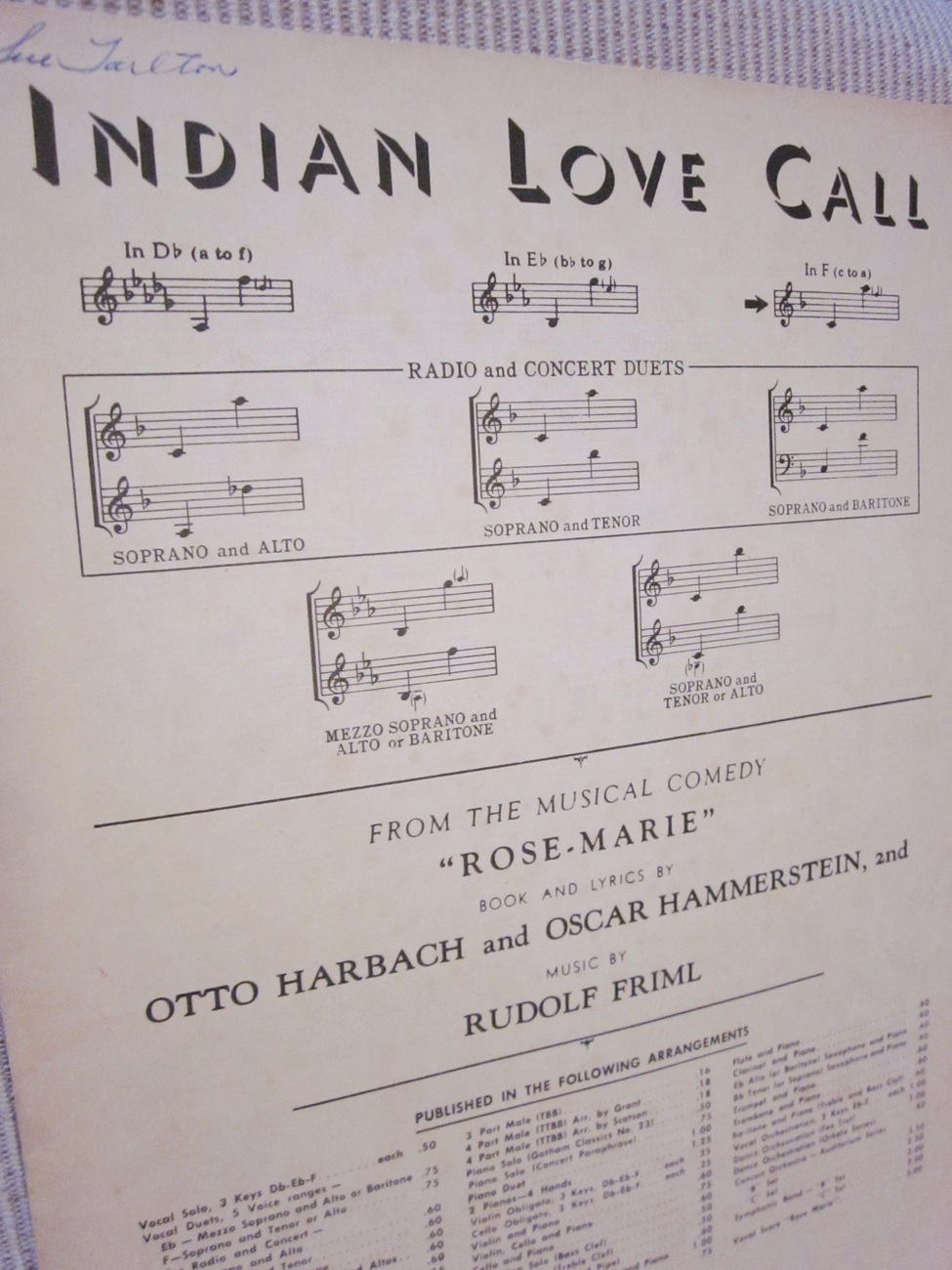 Vintage Sheet Music Indian Love Call 1924 by Harbach, Hammerstein, Friml  lot 1