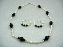 Handcraft Gemstone bl. ONYX  F. W Pearl Necklace BRACELET 14K gold earring SET image 2