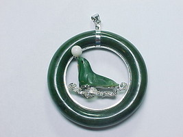 SEAL PENDANT in Genuine Deep GREEN JADE and STERLING SILVER - 2.25 inche... - $375.00