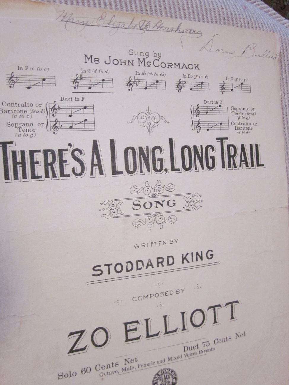 Vintage Sheet Music There's A Long, Long Trail by Stoddard King & Zo Elliot 1914