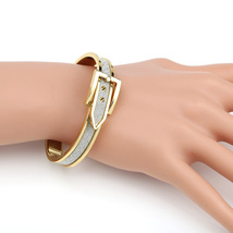 UE-Designer Gold Tone Hinged Bangle Bracelet, Buckle Clasp & Faux Diamond Dust  - $15.99