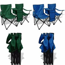 Camping Chair Set Folding Beach Fishing Picnic Deck Storage Table Cup Ho... - $65.58